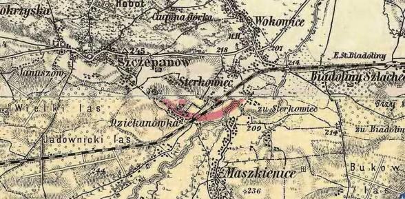 Sterkowiec na starych mapach